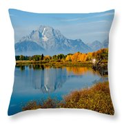 Tetons With Moose Throw Pillow