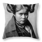Tewa Girl Throw Pillow by Aged Pixel