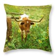 Texan Longhorn Throw Pillow