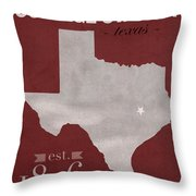 Texas A And M University Aggies College Station College Town State Map Poster Series No 106 Throw Pillow