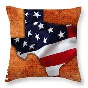 Texas American Flag Map Throw Pillow