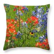 Texas Best Wildflowers Throw Pillow