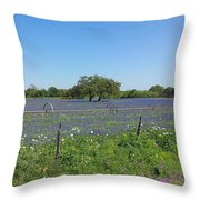 Texas Blue Bonnets Throw Pillow by Shawn Marlow
