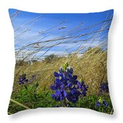 Texas Bluebonnet Center Of Attention Throw Pillow