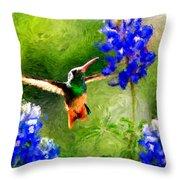 Da161 Texas Bluebonnet Hummingbird By Daniel Adams Throw Pillow