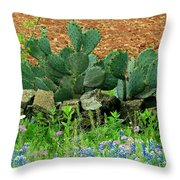 Texas Bluebonnets And Cactus Throw Pillow