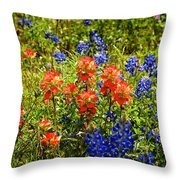 Texas Bluebonnets And Red Indian Paintbrush Throw Pillow