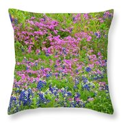 Texas Bluebonnets And Wildflowers Throw Pillow