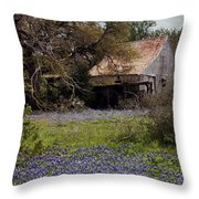 Texas Bluebonnets With Old Abandoned Shack Throw Pillow