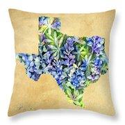 Texas Blues Texas Map Throw Pillow