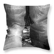 Texas Boots Portrait - Bw 02 Throw Pillow