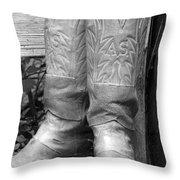Texas Boots Portrait - Bw 03 Throw Pillow