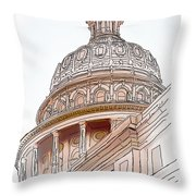 Texas Capitol Sketch Throw Pillow