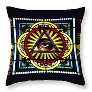 Eye Of Providence Texas Church Window Throw Pillow
