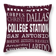 Texas Cities College Station Throw Pillow