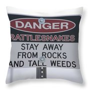 Texas Danger Rattle Snakes Signage Throw Pillow
