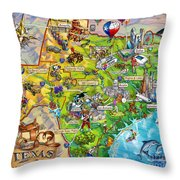 Texas Illustrated Map Throw Pillow