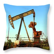 Texas Pumping Unit Throw Pillow by Kathy  White