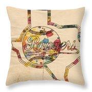 Texas Rangers Logo Vintage Throw Pillow