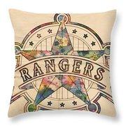 Texas Rangers Poster Art Throw Pillow