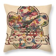Texas Rangers Vintage Art Throw Pillow
