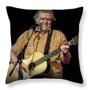 Texas Singer Songwriter Guy Clark In Concert Throw Pillow
