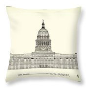Texas State Capitol Architectural Design Throw Pillow
