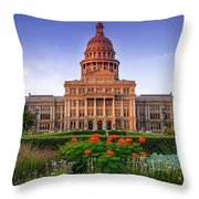 Texas State Capitol Summer Morning - Austin Texas Throw Pillow