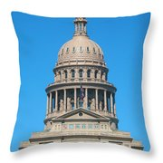 Texas State Capitol With Six Flags Throw Pillow