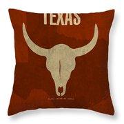 Texas State Facts Minimalist Movie Poster Art  Throw Pillow