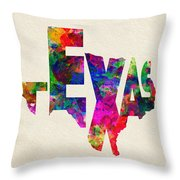 Texas Typographic Watercolor Flag Throw Pillow
