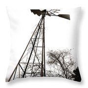 Texas Windmill 2 Throw Pillow