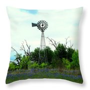 Texas Windmill And Bluebonnets Throw Pillow