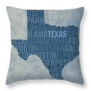 Texas Word Art State Map On Canvas Throw Pillow