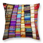 Textile Market Otavalo Ecuador Throw Pillow