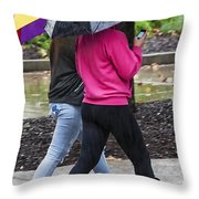 Texting In The Rain Throw Pillow