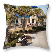Texting On Boardwalk Throw Pillow