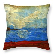 Textured Beach Scene Painting Fine Art Print Throw Pillow by Laura Carter