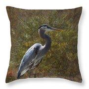 Textured Blue Heron Throw Pillow