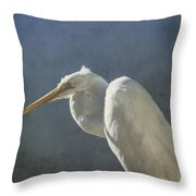 Textured Great Egret Throw Pillow