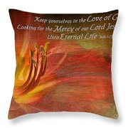 Textured Red Daylily With Verse Throw Pillow