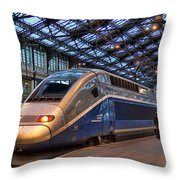 Tgv At The Train Station  Throw Pillow