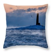 Thacher Island Lighthouse Seagull Passes Throw Pillow