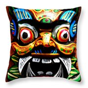 Thai Buddhist Mask Throw Pillow