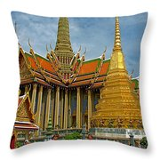 Thai-khmer Pagoda And Golden Chedis At Grand Palace Of Thailand  Throw Pillow