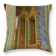 Thai-khmer Pagoda At Grand Palace Of Thailand In Bangkok Throw Pillow