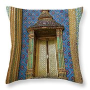 Thai-kmer Pagoda Window At Grand Palace Of Thailand In Bangkok Throw Pillow