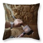 Thai Woodworker Throw Pillow