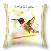 Thank You Card - Bird - Hummingbird Throw Pillow