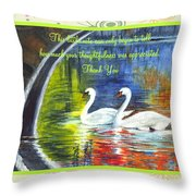 Thank You Sentiments-swans Throw Pillow